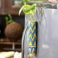 Lazy Gardener Magnetic Planter Pot for Fridge - Pretty Fridge Magnet with Cleaning Brush (Blue & Yellow, 1)