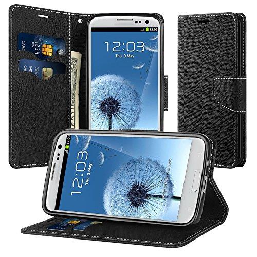 pad Schutzhülle für Samsung Galaxy S3 / S3 Neo Hülle Leder Wallet Tasche Flip Case Etui Handyhülle (Schwarz) (Samsung S3 Case)