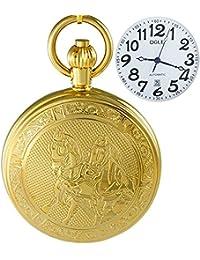 Ogle impermeable oro caballo calendario blanco colgante collar cadena Fob Self bobinado automático esqueleto mecánico reloj de bolsillo