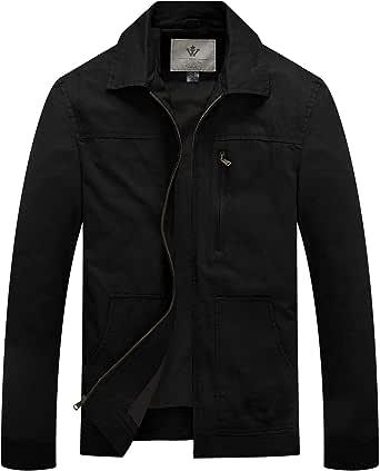 WenVen Men's Lapel Jacket Casual Leisure Coat Outdoor Lightweight Windbreaker Jacket Military Jackets
