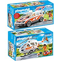Playmobil® City Life 2 pcs. Set 70048 70050 Rescue helicopter + Emergency ambulance with light and sound