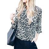 Mujer Casual Blusas de Manga Larga Moda Leopardo Camisa Cuello en V Camiseta Blusa Top