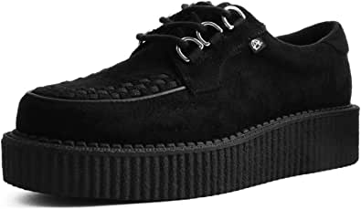 T.U.K. Shoes Men's Women's Black Faux Suede 3 Ring Anarchic Creeper from