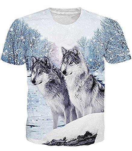 Idgretim Frauen Männer 3D Printed Zwei Wolf T-Shirts und Größe (T-shirts Teen Wolf)