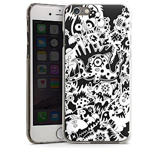 Apple iPhone 6 Housse Étui Silicone Coque Protection Pieuvre Noir blanc Créatures CasDur transparent