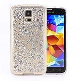 COOVY® Cover für Samsung Galaxy S5 SM-G900F SM-G901F Neo SM-G903F dünnes TPU Silikon Bumper Case, Slim, in funkelndem Glitzer-Design | Farbe Silber
