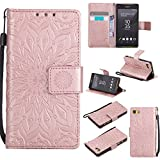 For Sony Xperia Z5 Mini/Compact Case [Rose Gold],Cozy Hut [Wallet Case] Magnetic Flip Book Style Cover Case ,High Quality Classic New design Sunflower Pattern Design Premium PU Leather Folding Wallet Case With [Lanyard Strap] and [Credit Card Slots] Stand Function Folio Protective Holder Perfect Fit For Sony Xperia Z5 Mini/Compact 4,2 inch - Rose gold