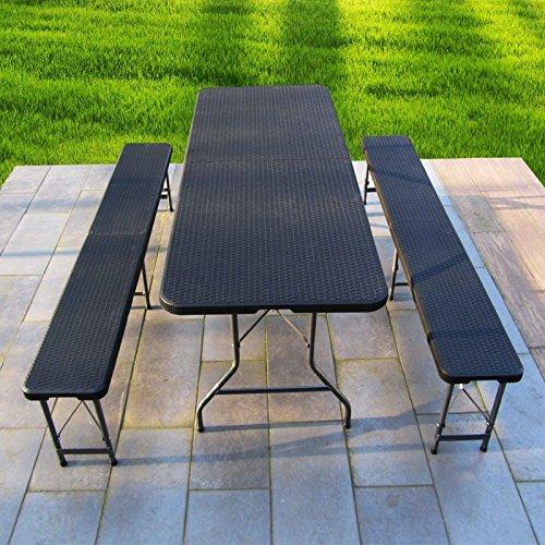 JOM Bierzeltgarnitur, Frühstücks Garnitur, Camping-Set, Esstisch klappbar, Rattan-Optik,1 Tisch 2 Bänke mit Metallgestell pulverbeschichtet, mit Klappfunktion und Tragegriffen (Esstisch-set Für Zwei)