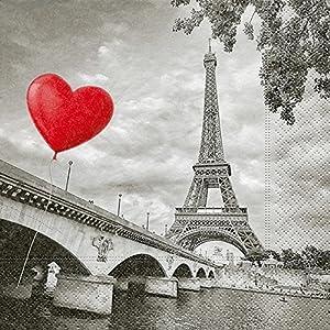 Serviette Papierserviette Stadt der Liebe 5/20 Stück Mehrlagig Servietten Tischdeko Besteck Paris Eifelturm Eiffelturm Herz