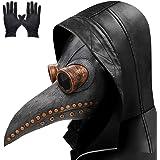 Lifreer - Maschera per dottore della peste con becco lungo per uccelli, per Halloween, con un paio di guanti