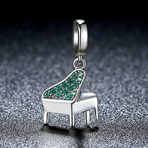 Everbling Charm Piano Lover grün cz baumeln 925Sterling Silber Bead für Pandora Charm Armband - 5