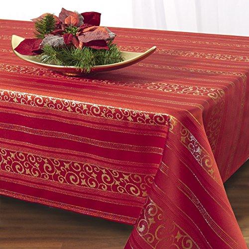 Elegante Tovaglia XL 'MAGIC MOMENTS', rossa, 140 x 200 cm, con arabeschi color oro - moderna ed Elegante - un gioiello su ogni tavola - disponibili Runner, tovagliette e tovaglie anche in altre dimensioni - per Autunno/Inverno/Natale - in KAMACA-SHOP