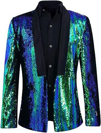 Allthemen Mens Suits Slim Fit Blazer Shiny Shawl Lapel Dress Suit Jacket Party Prom Clubwear Halloween/Cosplay Tuxedo Jackets Blazers