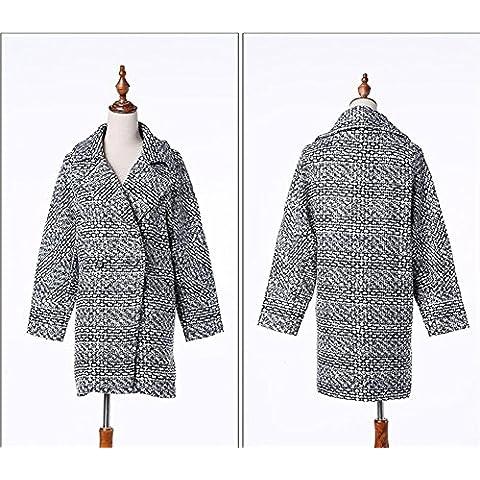 Clásica Plus de pata de gallo tamaño largo lana abrigo mujer , picture color , xl