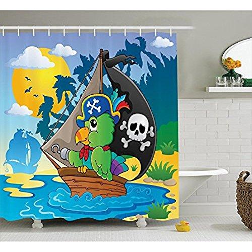 Papageien Dekor Sammlung, Bild mit Piraten Papagei Themed Boot Gefahr Totenkopf Totenkopf hat Sun Comic Cartoon Drucken, Polyestergewebe Badezimmer Duschvorhang, Set mit Haken, Blau Grün 72