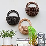 Sue forniture puntelli simulato muro Hangle cesto di fiori, fiori artificiali vaso da parete in bambù intrecciato basket Flower Decor indoor outdoor irrigazione da appendere Khaki