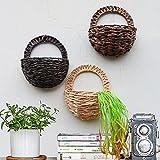 Sue Forniture Puntelli simulato Muro Hangle Cesto di Fiori, Fiori Artificiali Vaso da Parete in bambù Intrecciato Basket Flower Decor Indoor Outdoor irrigazione da Appendere Khaki