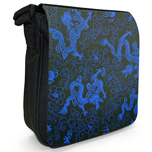 Chinesische Drachen Kleine Schultertasche aus schwarzem Canvas Chinesische Drachen Blau