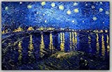 Printelligent Vincent Van Gogh Canvas Painting - Starry Night - Over the Rhone For Home And Office Décor-(36 in x 36 in)