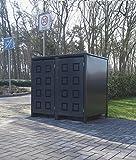2 Mülltonnenboxen Modell No.5 für 240 Liter Mülltonnen / komplett Anthrazit RAL 7016 / witterungsbeständig durch Pulverbeschichtung / mit Klappdeckel und Fronttür
