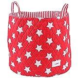 Minene 1241 Aufbewahrung Korb Groß, Rot mit weißen Sternen, 45 x 45 x 40 cm