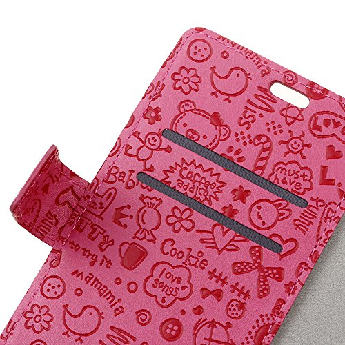 Xiaomi Mi 5X A1 Funda Faux Cuero Billetera Funda para Xiaomi Mi 5X A1 con Stand Funci  n Rosa roja