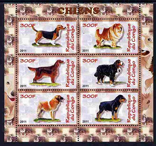 Congo 2011 Dogs perf sheetlet 6 values u/m DOGS JandRStamps
