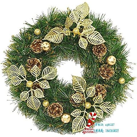 Xmas decorativi artificiali?Ghirlanda di Natale Natale aghi di pino Rattan ornamenti anello ?30cm Pigna oro Ghirlanda di Natale vigne