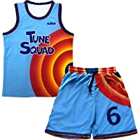 Blue and Orange Basketball Jerseys #6 Tracksuit Tshirt and Shorts for Adult Men,Hip Hop Cosplay Costume Summer Outfit