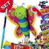 Schmetterling Pinata +Süßigkeiten+Keule+Maske im Set f. Geburtstagsspiele Kinder