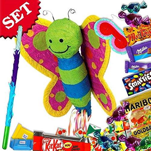 Schmetterling Pinata +Süßigkeiten+Keule+Maske im Set f. Geburtstagsspiele Kinder (Kinder Für Schmetterlings-masken)