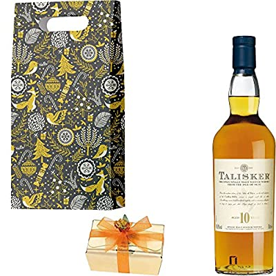 Talisker 10 Year Old Single Malt Scotch Whisky Christmas Gift Set With Handcrafted Merry Christmas Gifts2Drink Tag