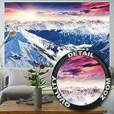 Murale panoramique d'Alpes décoration de peinture murale d'hiver de neige et de coucher du soleil Paysage de montagnes montagne de glace | murale photo mur deco chez GREAT ART (210x140 cm)