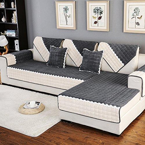 DW&HX Gesteppter Sofabezug Möbel-protector für haustier hund ,3 sitze Volltonfarbe Verdicken sie Sofaüberwurf Anti-rutsch -H 43x63inch(110x160cm)