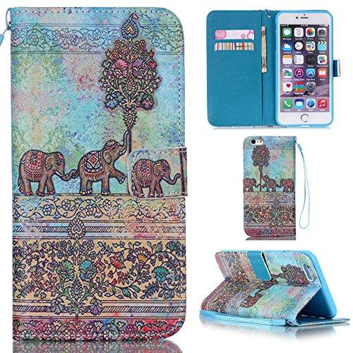Ooboom® iPhone 5SE Hülle Flip PU Leder Schutzhülle Handy Tasche Case Cover Wallet Standfunktion mit Kartenfächer Trageschlaufe - Elefant
