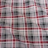 Stoff Baumwollstoff Meterware Karo Tartan beige schwarz rot Schottenkaro
