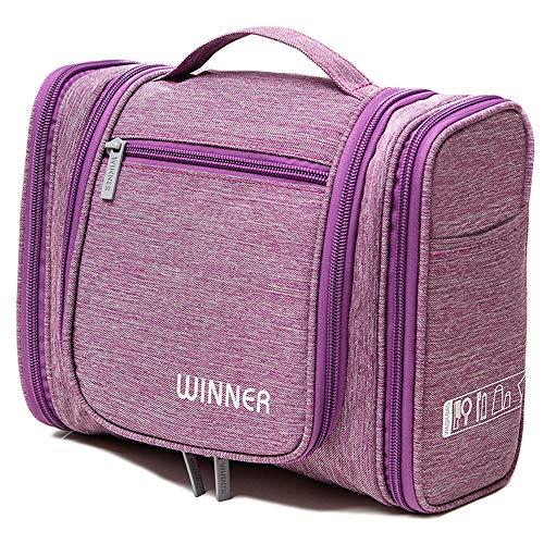 Beauty case da viaggio da appendere reetee grande borsa da toilette per donna uomo, impemeabile ripiegabile cosmetico bag per viaggiare ginnastica o business (viola)