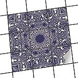 creatisto Fliesenfolie selbstklebend 15x15 cm 3x3 Design Blue Mandala (Grafik & Illustration) Klebefolie Küche Bad