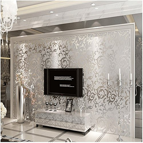 Good QIHANG High Quality Sliver Gray Victorian Damask Embossed Textured Wallpaper  Non Woven Material 0.53m(20.8 Awesome Design