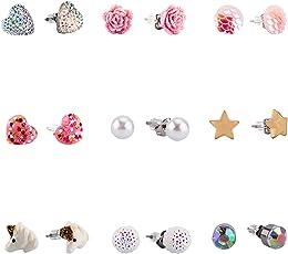 Hypoallergen Ohrringe für Kinder, kleine süße Tier Sterne Herz Faux Perle Ohrstecker für Kinder, kleine Mädchen Schmuck Set von 9 Paar Skywisewin