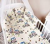Tour de lit tour de lit bébé chouette: 210cm ecru/bleu grand tour de lit Protection des Bords Protection de la tête pour lit bébé lit équipement