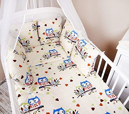 A nido Baby esterni letto con bordo 210 cm Design: gufo Colore Beige/Blu grande letto Paracolpi con protezione rinforzata sugli angoli casco protettivo per arti marziali per bambini letto caratteristiche