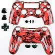 GAMINGER Austauschgehäuse für Sony PlayStation 4 Dualshock 4 Controller Schale Shell Case Housing Kit Hülle Set Skin Zubehör Custom Mod Tuning - TOTENKOPF ROT