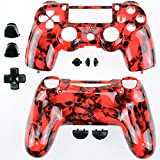 GAMINGER Austauschgehäuse für Sony PlayStation 4 Dualshock 4 Controller Schale Shell Case Housing Kit Hülle Set Skin Zubehör Custom Mod Tuning - TOTENKOPF ROT