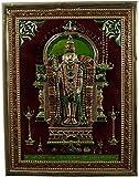 #10: Kapasi Handicrafts Lord Murugan / God Kartikeya / Shanmukha Embossed On Brass Minakari Standing Wall Hanging Photo Frame (10L X 13H) Inch Antique Finish Indian Home Decor Art Piece
