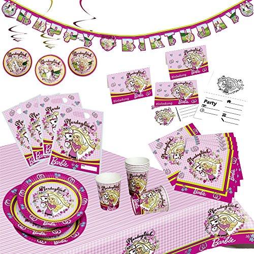 Barbie XXL Party Geburtstag Set für Mädchen Partykoffer 49 Teile