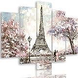 Feeby PARIS Mehrteilige Leinwandbilder 5 Panel Typ A, Größe: 150x100 cm, EIFFEL TOWER FRANKREICH ARCHITEKTUR PINK