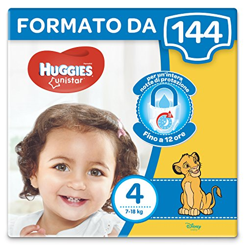 IRPot - 144 PANNOLINI UNISTAR HUGGIES TAGLIA 4 8 PAQUETES