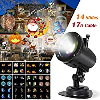 Animado Luces de Proyector, LED Lámpara de Proyección con 14 Diapositivas Dinámicos IP65 Impermeable 6H