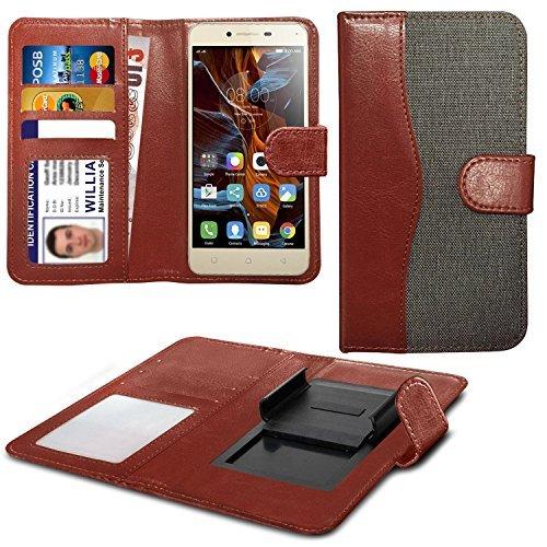 Preisvergleich Produktbild N4U Online - Verschiedene Farben Clip On Dual Fibre Buch Schutzhülle Hülle Für Aldi Medion Life E5005 5 - grau